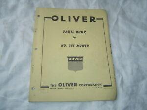 Oliver 355 mower parts book catalog manual with old oliver dealer sign logo
