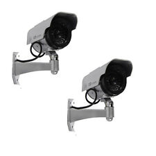 2x Sliver Bullet Solar Power Flashing LED Security CCTV Fake Dummy Camera