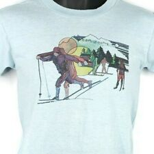 Cross Country Skiing T Shirt Vintage 70s Winter Sports Ski Mountains Size XS