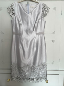 LADIES PRECIS DRESS SILVER LACE SHIMMER PARTY XMAS OCCASION DRESS FORMAL UK 10
