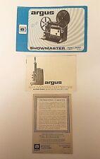 Argus SHOWMASTER Super8 Modèle 871 & 872 Instruction Manuel & Référence Carte