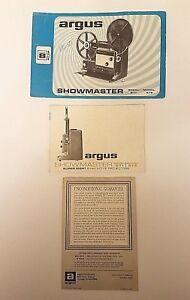 Argus Showmaster Super8 Model 871 & 872 Instruction Manual & Reference Card HTF
