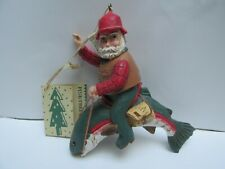 Midwest Pine Tree Santa riding rainbow trout ornament with original tags