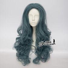 65CM Lolita Long Curly Ash Dark Green Party Cosplay Synthetic Hair Wig+Wig Cap