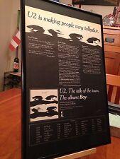 """Big 11X17 Framed Original U2 """"Boy"""" Lp Album Cd Promo Ad - with 1981 Tour Dates!"""