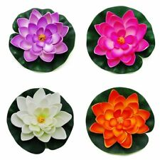 Artificial Floating Foam Lotus Flower Pond Decor Water Lily with Stylus Set of 4