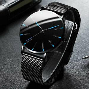 Men's Watch Mesh Belt Business Minimalist Ultra Thin Watches Stainless Steel NEW