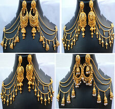 South Indian 22K Gold Plated Traditional Ethnic Chain Earrings Set A