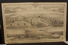 Ilinois Cass County Map Farm of Beverly Watkins Esq. 1874 Dbl Pg !J15#01