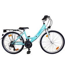 Cityfahrrad 26 Zoll Fahrrad Kinderfahrrad 18 Gang Shimano Mint/Weiss STVO