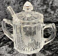 "Antique Cut Glass Jam Mustard Jar Grapevine Leaf With Lid Glass Spoon 4""H Fancy"
