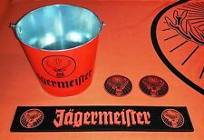 Jägermeister Black/Orange Rubber Bar Mat, Orange Bucket, and Coasters