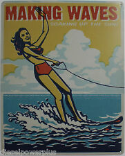 Vintage Replica Tin Metal Sign Making waves skining ski lake life welcome home