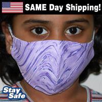 CHILD size PURPLE SWIRL Face Mask –INCLUDES 2 FILTERS –30+ Custom Kids Designs