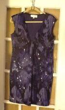 St JOHN EVENING knit DRESS purple black Iris sz 10 Paillettes Cocktail empire