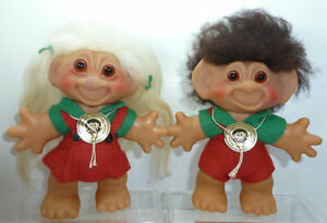 1960s Vtg Dam Troll Lykketrold GJOL - Lot Pair Boy Girl Red Green - Foil Hangtag