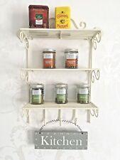 French Vintage Style Metal Wall Shelf Unit Cream Storage Display Spice Rack Hook