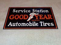 "VINTAGE GOODYEAR SERVICE STATION AUTOMOBILE TIRES 12"" METAL GASOLINE & OILS SIGN"