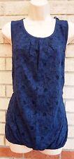 G21 NAVY BLUE FLORAL LACE FRONT BAGGY BUBBLE LONG TOP TUNIC VEST BLOUSE 14 L