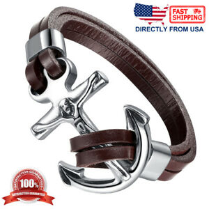 Men's Stainless Steel Jesus Christ Crucifixion Anchor Brown Leather Bracelet