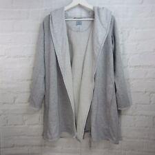 Jane & Bleecker Women's Sweater L/S Open Front Long Gray Hooded Pockets Size M