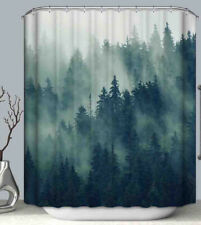 Misty Pine Tree Forest Fabric Shower Curtain w/Hooks Woods Rustic Cabin Lodge