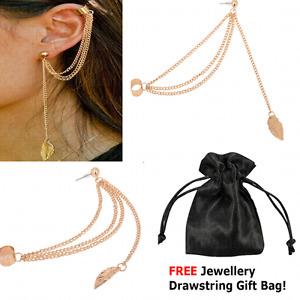 Women Fashion Cool Jewellery Leaf Chain Tassel Dangle Ear Cuff Wrap Earring Hot.