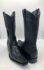Men's Cowboy Boots Genuine Python Leather Black 9