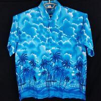 Rima Cloud & Palm Tree Sailboat Blue Hawaiian Short Sleeve Shirt Mens XL