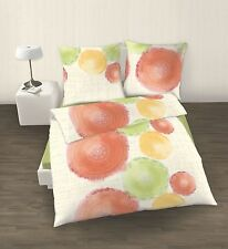 IDO Percale Linge de lit 2 parties Cercles orange vert 135x200 cm (80x80 cm)