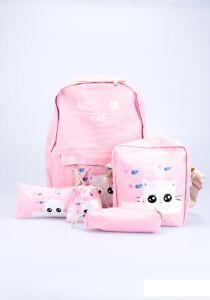 Kinder Rucksack Set für Mädchen Kindergarten Kinderrucksack Schule Sport Katze