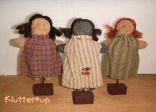 GIRL TRIO (3)-Country Primitive Prim Antique Style Fabric Mini Doll Folk Art