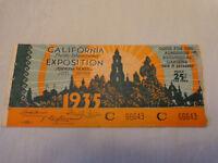 1935 San Diego California Pacific International Exposition Ticket Day Saladin C