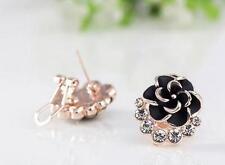 HOT Women Crystal Stone Flower Stud Earrings Fashion Ear Piercing Jewellery Gift