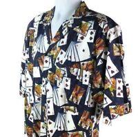 M.E.Sport Poker Shirt Mens Medium Button Up Cards