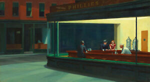 "Edward Hopper ""Nighthawks 1942"" Canvas HD Print Oil Painttings Poster"