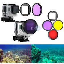 3 High Definition Diving Photo Filter Lens Red/Yellow/Purple For Gopro Hero 4 3+
