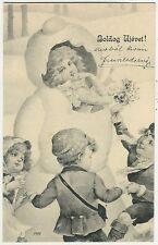 Snowman, Elegant Lady in a Snowman, New Year, Unusual Old Postcard 1903