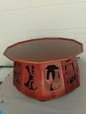 Vintage Japanese red and black lacquer  Round Tea  Table