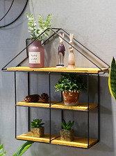 Unique Floating House Wall Shelf Metal Display Unit Storage Mounted Shelving