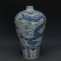 "16"" Chinese old Porcelain yuan Blue & white hand painting dragon plum Vase"