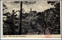 Jena an der Saale Thüringen alte Postkarte 1942 Blick zum Fuchsturm Waldpartie