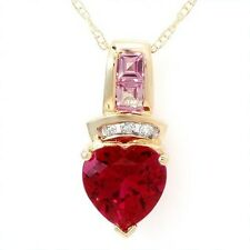CR Ruby Necklace w/CR Pink Sapphire & Gen Diamonds SOLID 10k Yellow Gold New ylg