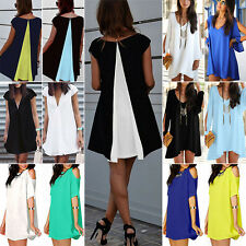 Womens Chiffon Summer Beach Casual Tops Shirt Mini Cocktail Evening Short Dress
