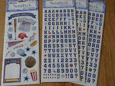 Baseball Scrapbooking Stickers Alphabet Sandylion Set of 4 Sheets