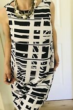 BASQUE WOMENS DRESS LINED PRINTED BLACK WHITE SLEEVELESS SZ 12