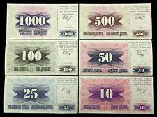 Bosnia & Herzegovina 1000,500,100,50,25,10 Dinara 1992 UNC Banknotes