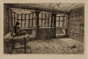 NHJ Baird 1900 Oak Room, Mols Coffee House, Exeter Etching Print