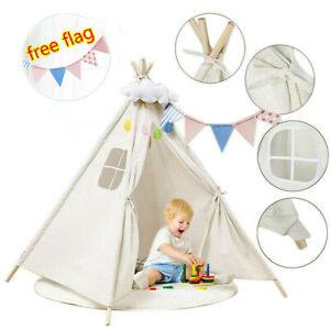 Large Canvas Children Kids Garden Tent Teepee Wigwam Indoor Outdoor Play House