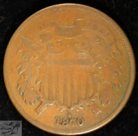 1870 Two Cent Piece, Fine Condition, Free Shipping in USA, United States, C4978